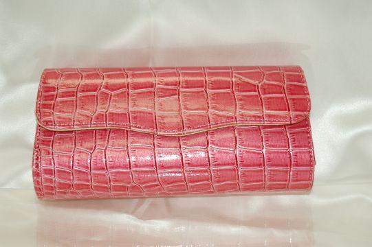 クロコ風☆型押し ピンク クラッチバッグ